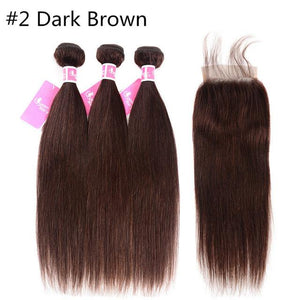 Brazilian Straight Non-Remy Human Hair Weave With Closure 3 Bundles-