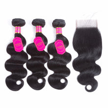 Brazilian Virgin Body Wave Hair Weave With Closure 3 Bundles-
