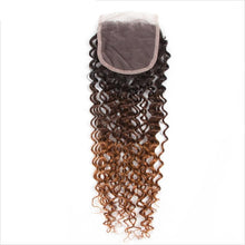 Ombre Brazilian Kinky Curly Weave Human Hair With Closure 3 Bundles