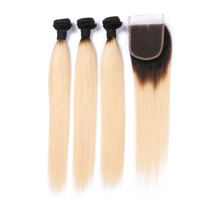Ombre Brazilian Remy Straight Hair With Lace Closure 3 Bundles