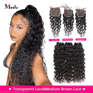 Brazilian Non Remy Water Wave Bundles With Transparent Lace Closure