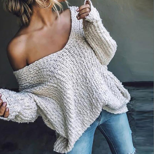 Basic Casual Deep V Neck Loose Long Sleeve Sweater