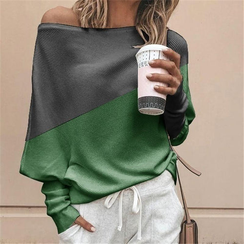 Casual Loose Stitching Contrast Long-Sleeved Knit T-Shirt