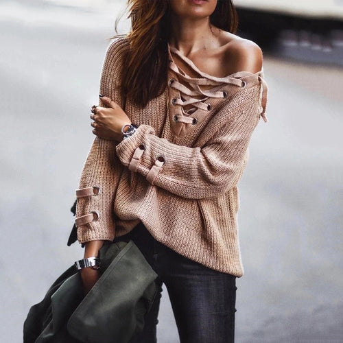 Casual Loose Lace-Up Collar Khaki Long Sleeve Sweater