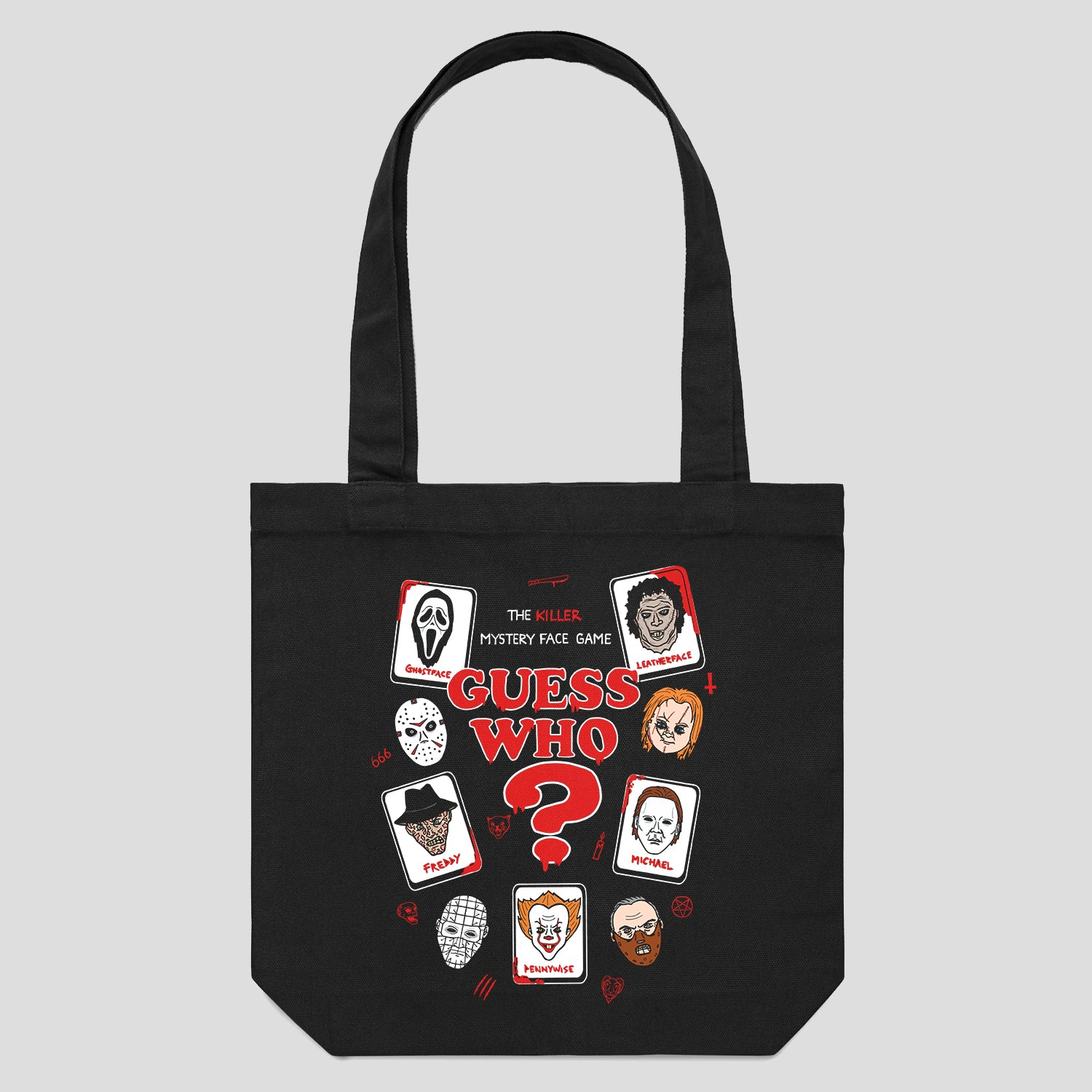 Black Tote Bag Featuring Horror Villains Design.