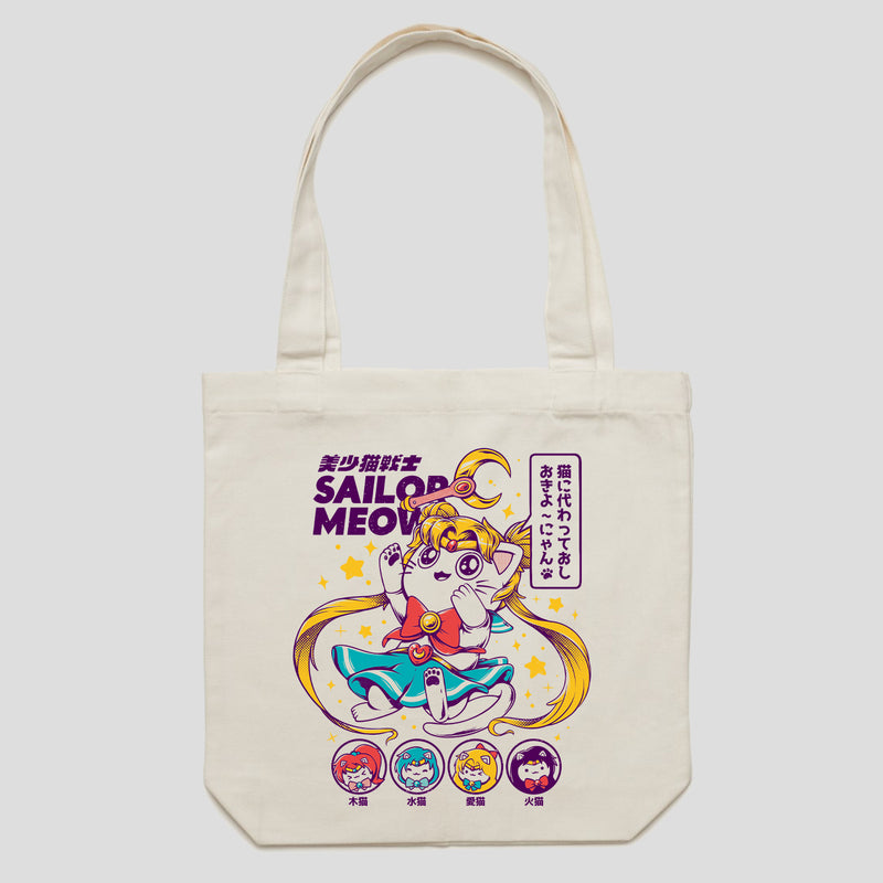 Cream Tote Bag with Sailormoon in cats version design