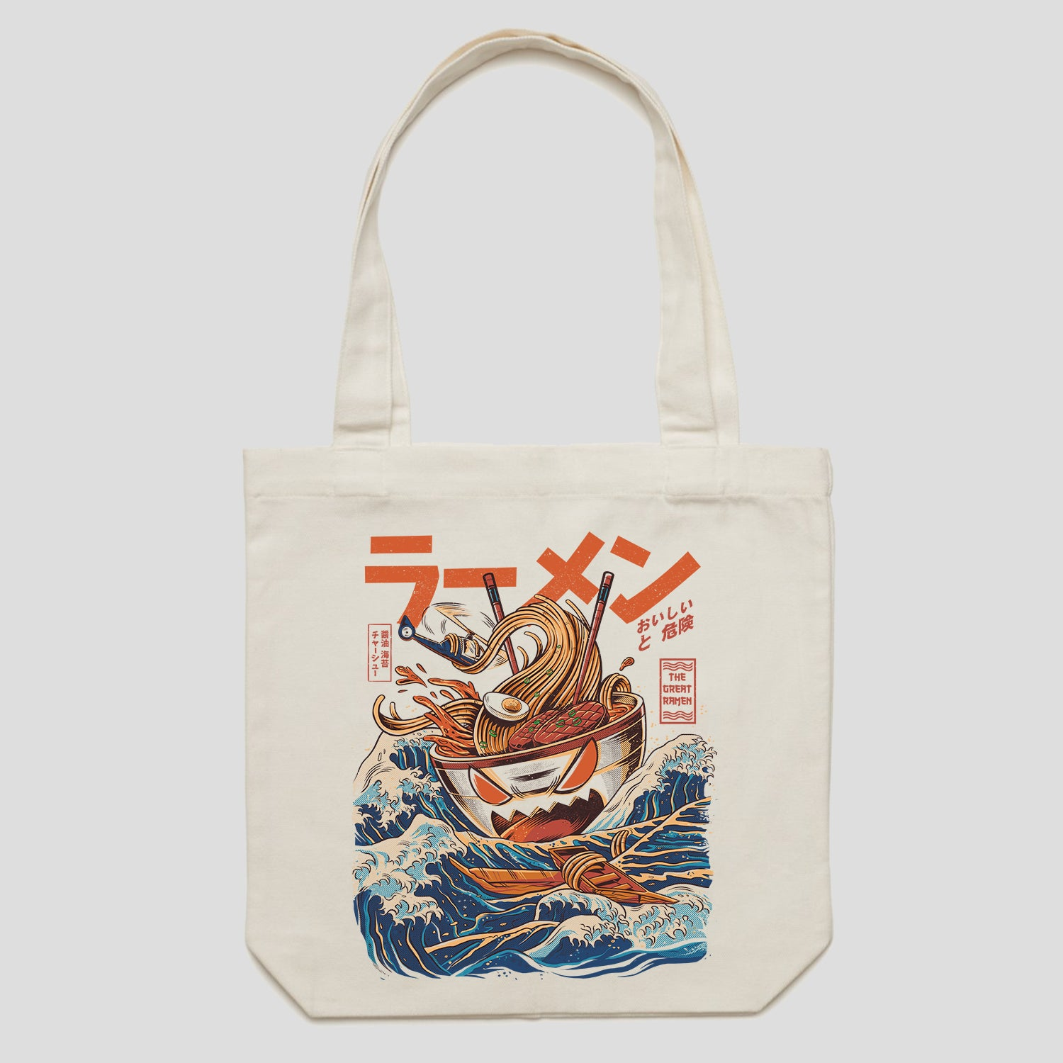 Cream Tote Bag with Ramen Design