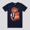 Cool Japanese Fox Art T-Shirt in Navy