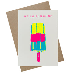 "Karte ""HELLO SUNSHINE"" Siebdruck  - Handmade in Germany"
