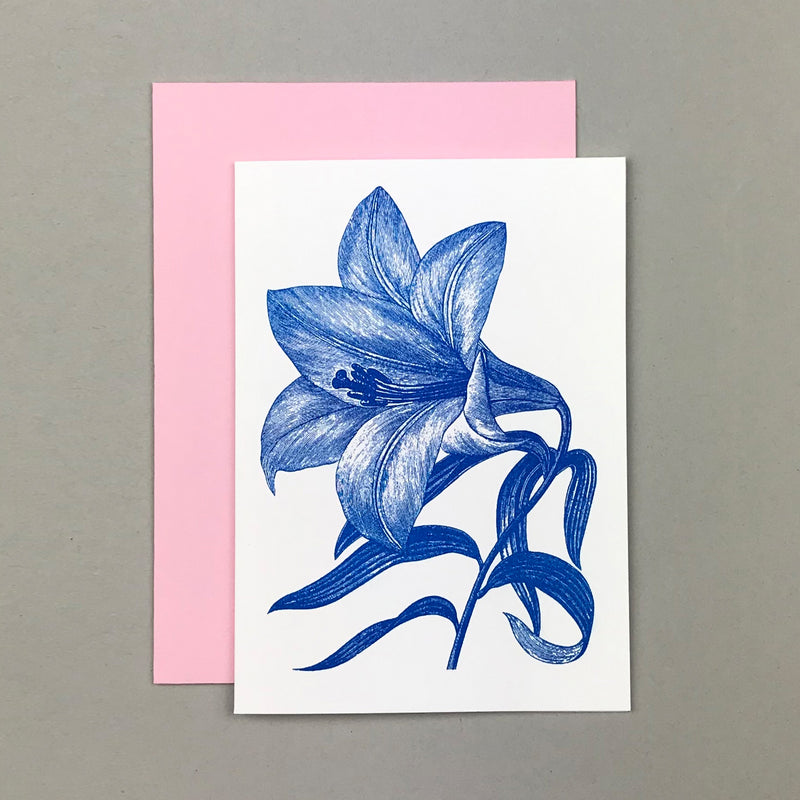 "Karte ""Blaue Lilie"" Risographie  - Handmade in Germany"