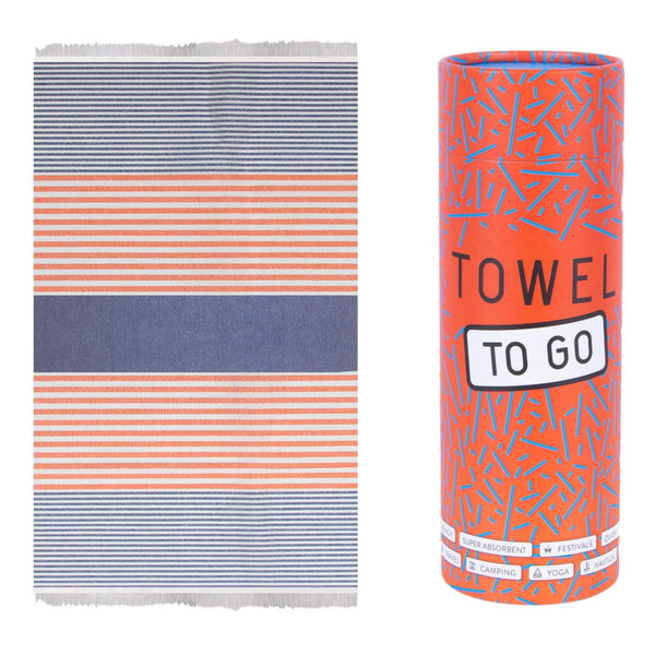 Towel to go Bali Hammamtuch in Blau/Orange mit Geschenkbox