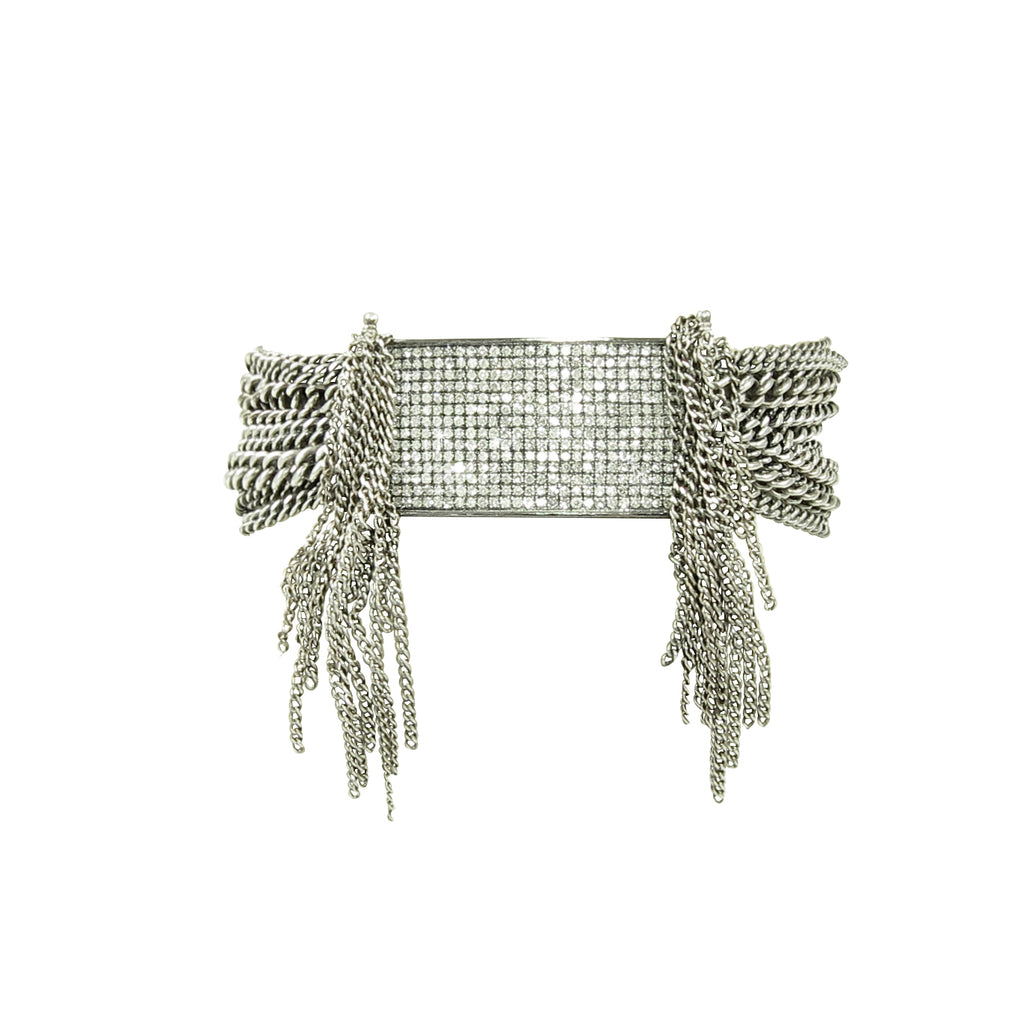 Fiery diamond ID bracelet and chain with lots of fringe and magnetic clasp