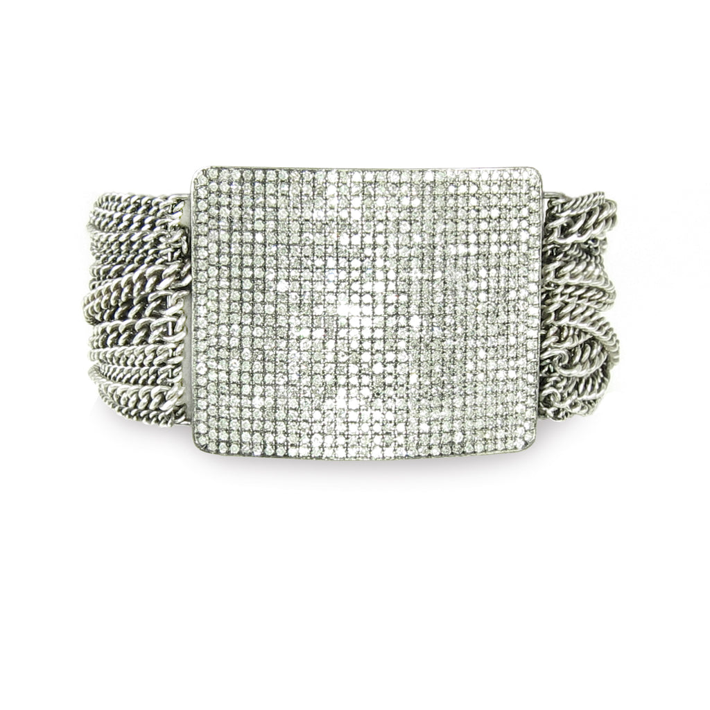 A big and bold fiery pavé diamond bar with lots of wrapped chain and magnetic clasp.