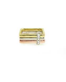 Tri-color gold square rings with diamond slider, from The Abacus Collection, by Nan Fusco