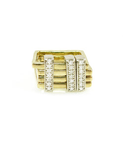 Edgy and unique, Stacked square gold rings with diamond bar sliders, from the Abacus Collection by Nan Fusco.