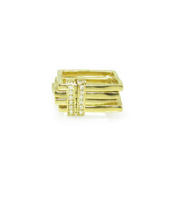 Edgy gold square rings with diamond sliding bars, Abacus Collection by Nan Fusco