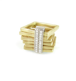 Edgy and unique square rings with diamond sliding bar, from the Abacus Collection by Nan Fusco.