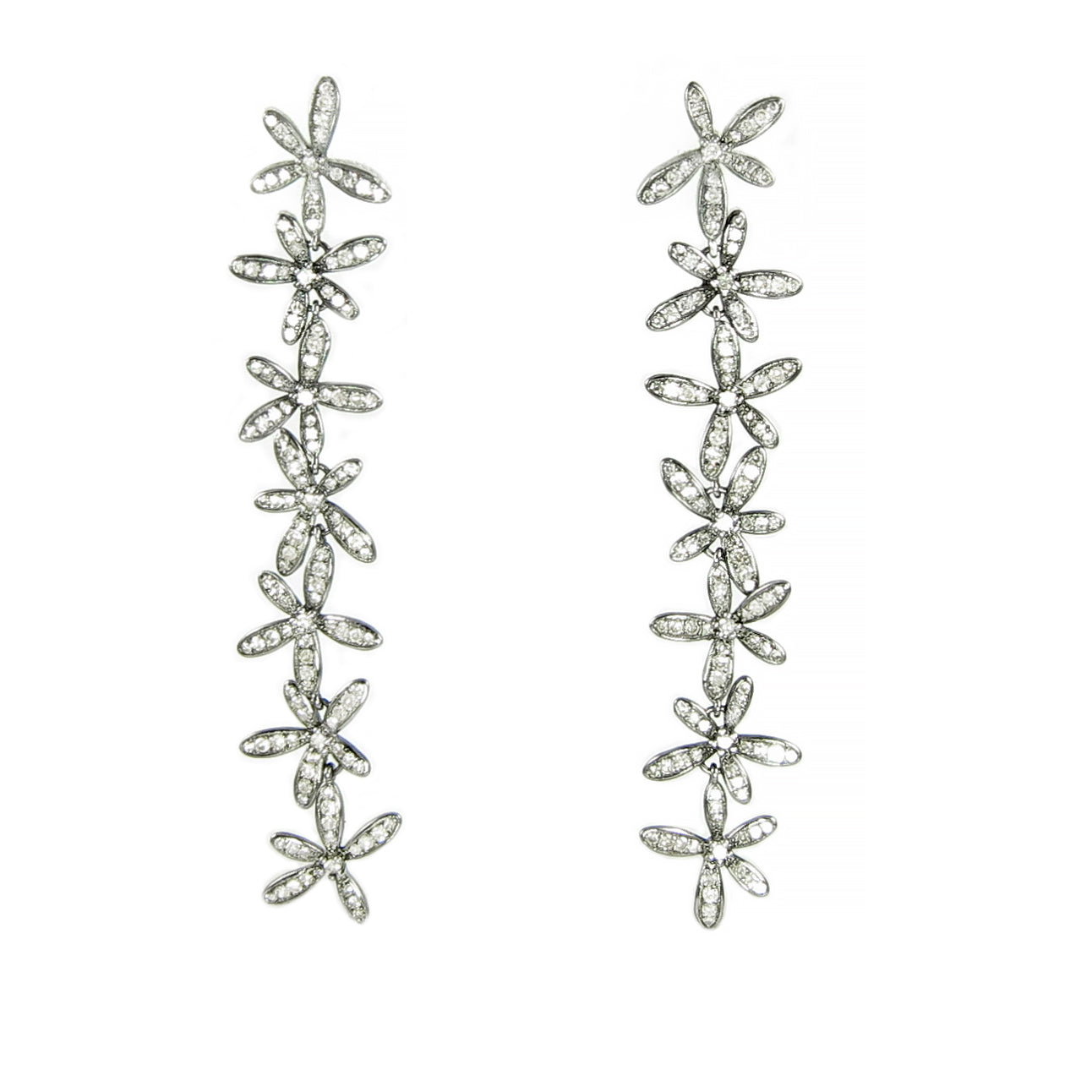 Mismatched diamond flower earrings with post are so fresh!