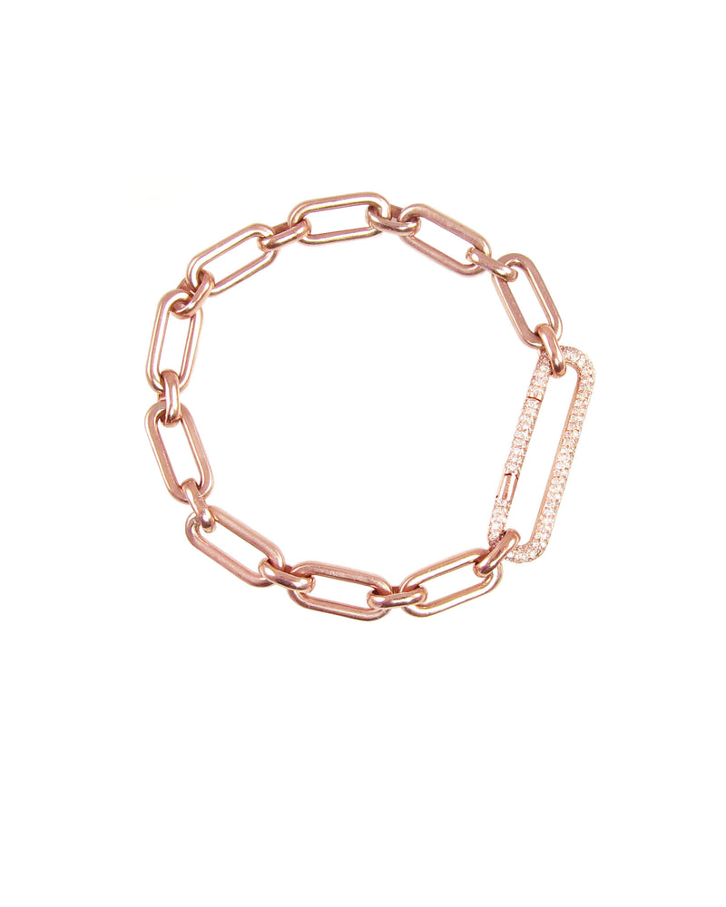 Amazing bracelet in heavy rose gold links with diamond link clasp