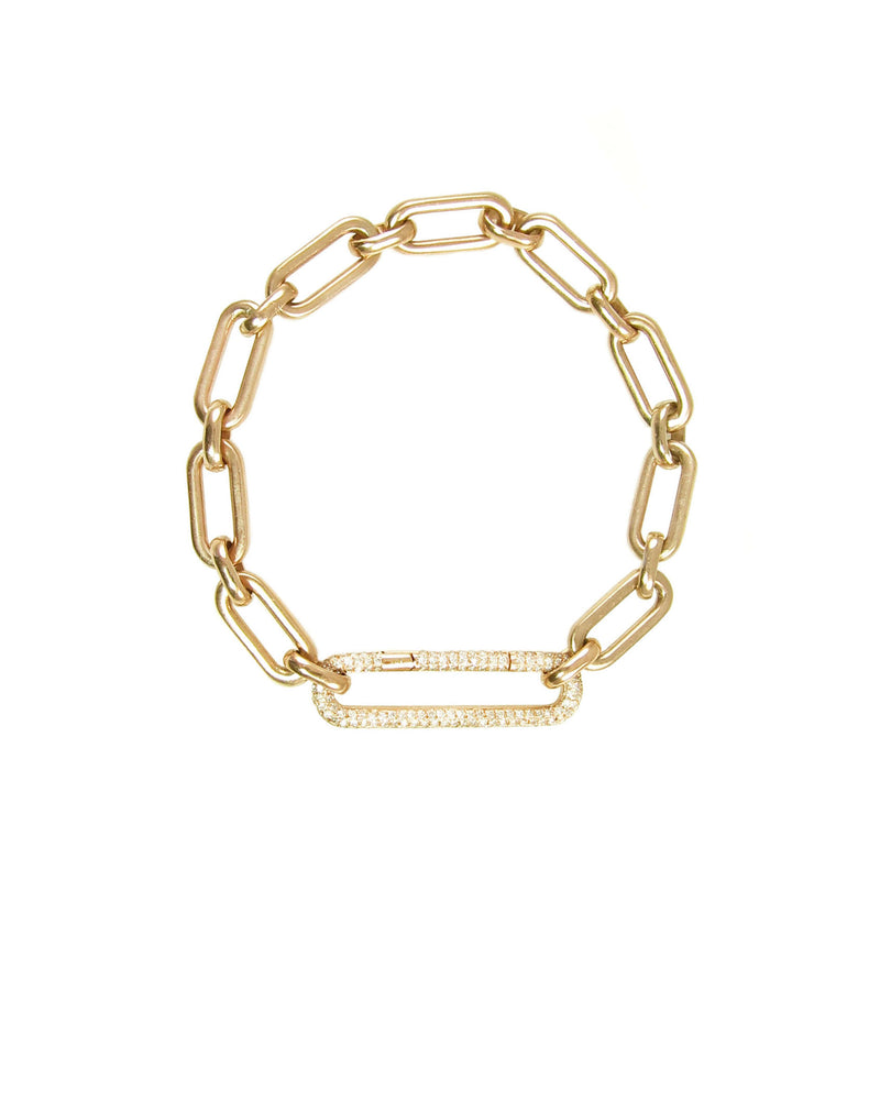Fabulous bracelet with heavy yellow gold links and diamond link clasp