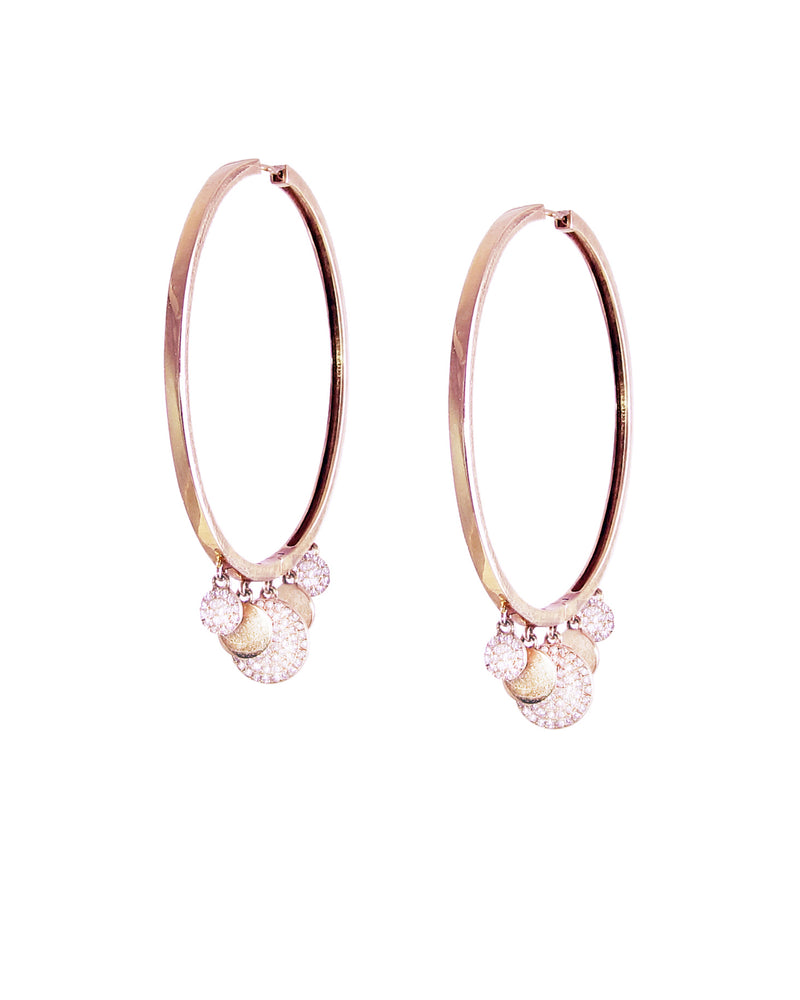 Diamond Disk Large Hoops