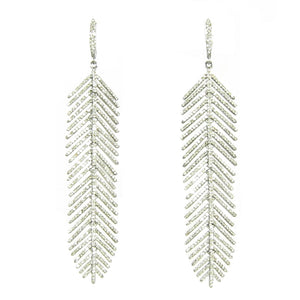 fabulous diamond feather earrings that are flexible.