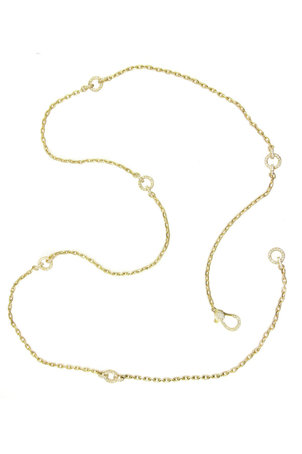 14k Gold Diamond Station Chain