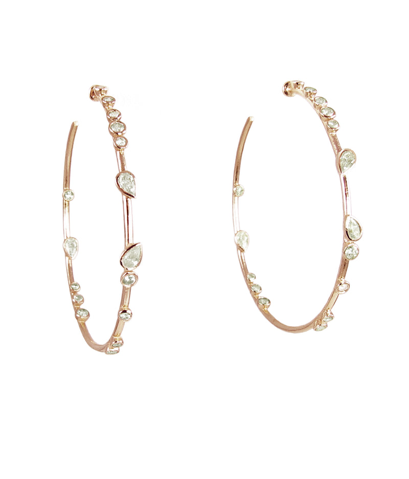 Gold Bezeled Diamond Hoops