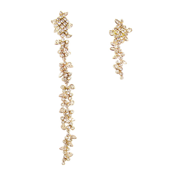 Mismatched diamond petal earrings, edgy and elegant in rose or yellow gold
