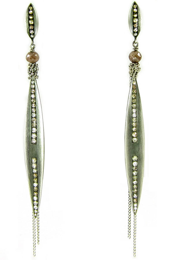 Unique oxidized sterling marquis earrings with diamonds set in a line.