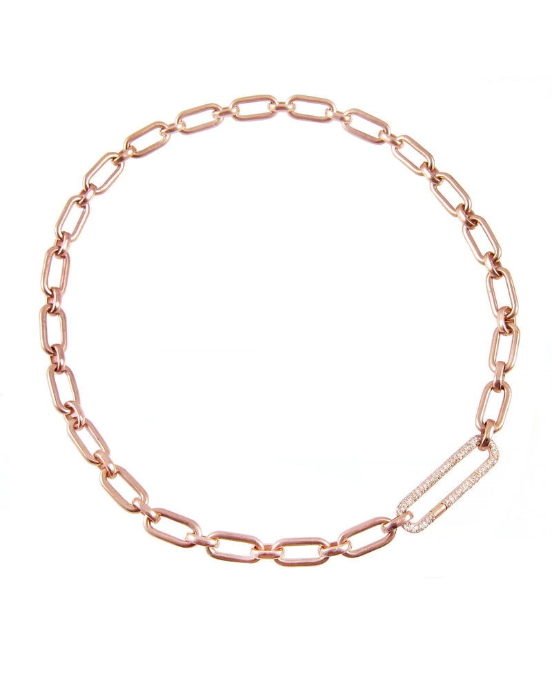 14k rose gold link necklace with amazing diamond link clasp