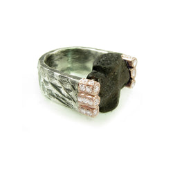 Mixed metal staurolite ring with diamonds and natural stone