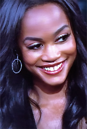 The Bachelorette Rachel Lindsay wears Nan Fusco marquis hoops on Jimmy Kimmel Live.