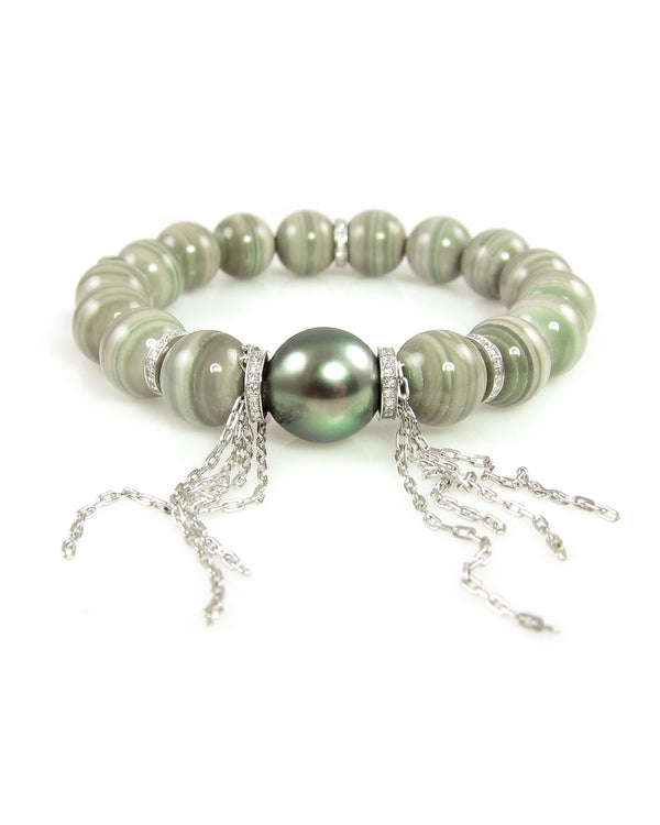 Exquisite saturn chalcedony bracelet with tahitian pearl and white gold diamond roundels