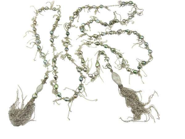 Tahitian fringed necklace with fiery diamond beads, fringe and tassels to wear just like a cashmere scarf.