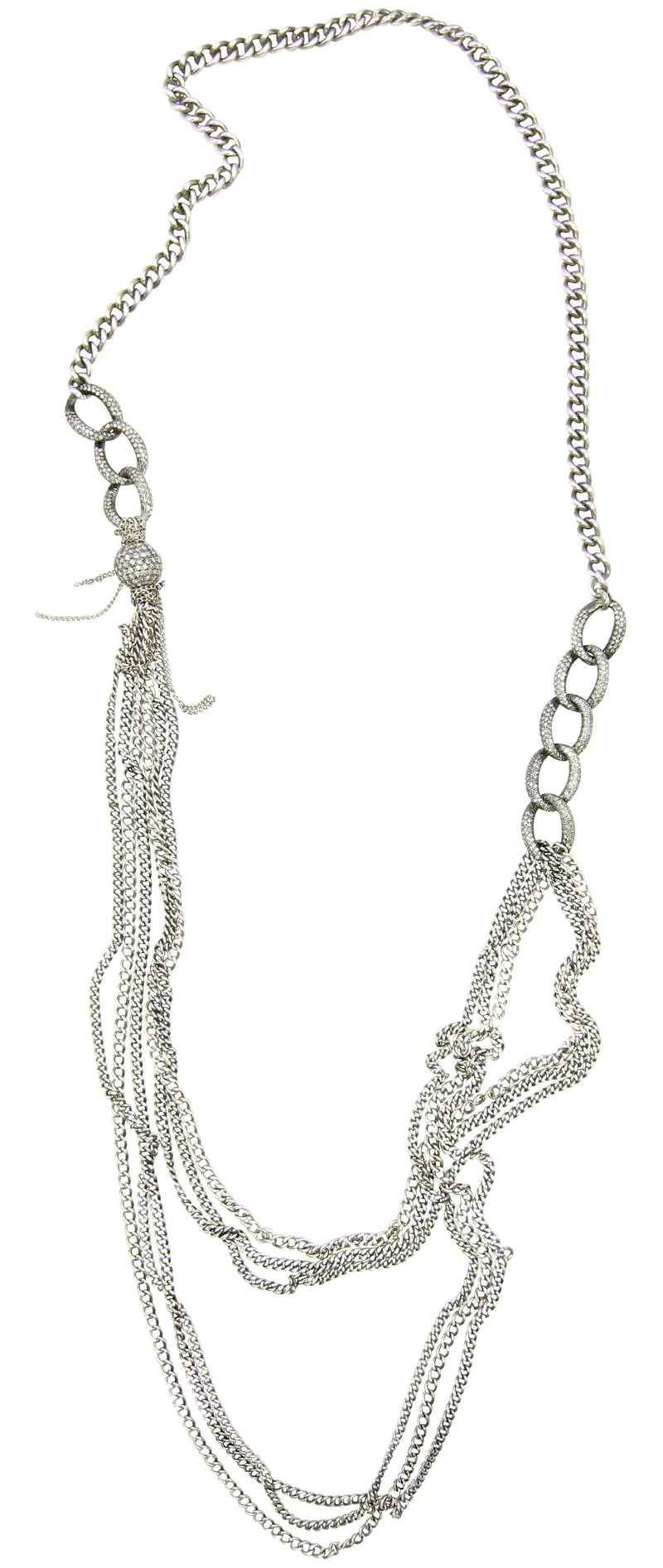 Creative necklace made of diamond links and chains that converts from a traditional necklace to edgy lariat.