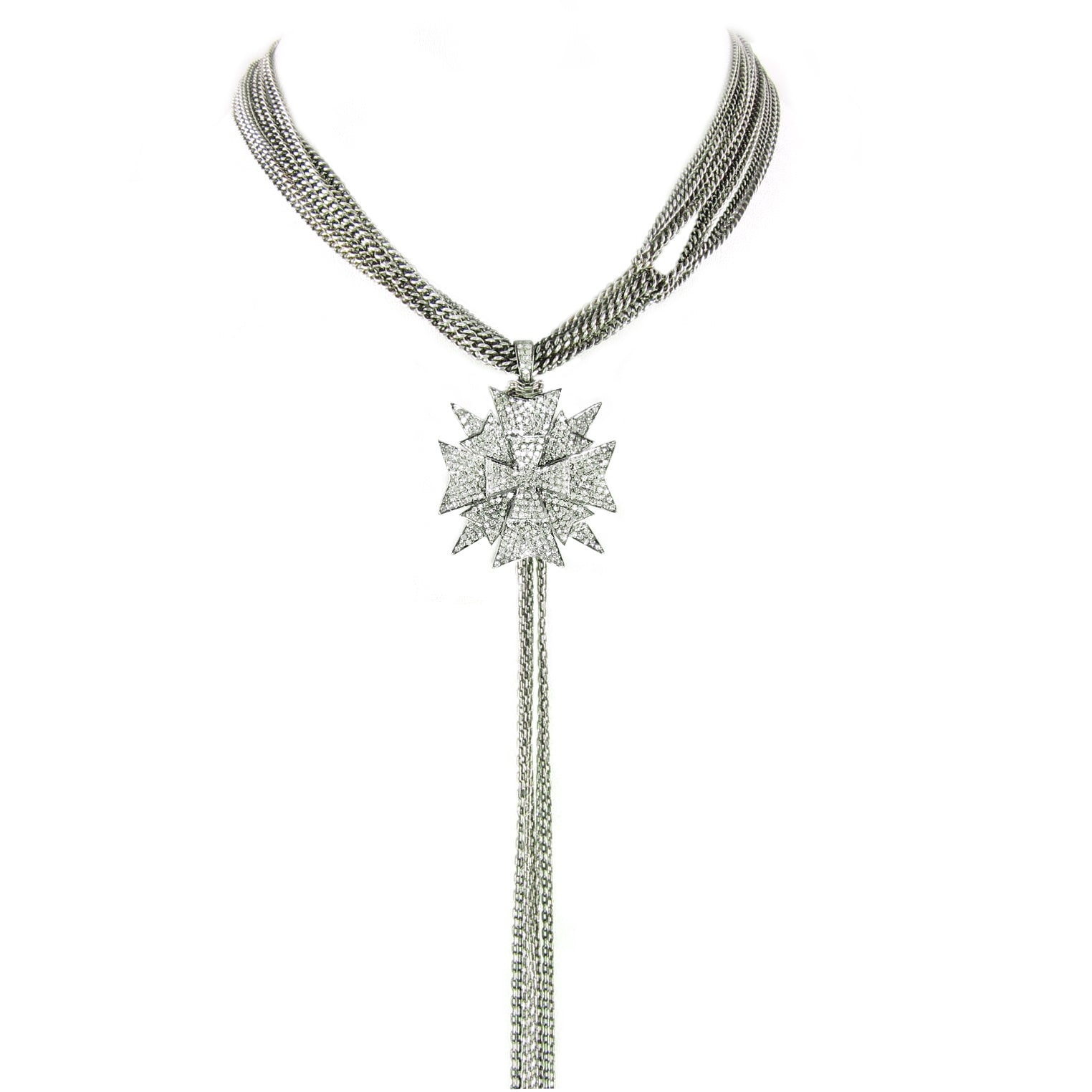 Unusual triple layered diamond maltese cross with long chain tassel.