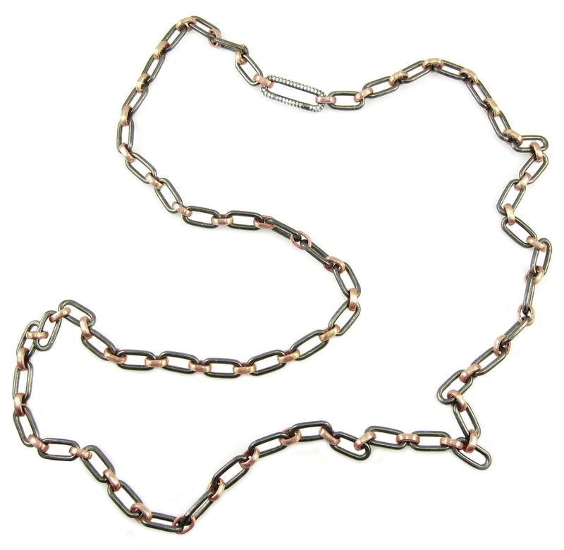 Rose Gold and Sterling chain with beautiful diamond link clasp