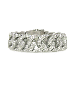 On trend Chunky diamond link bracelet with diamond logo on clasp.