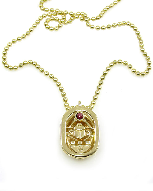 Gold Scarab & Ruby Amulet
