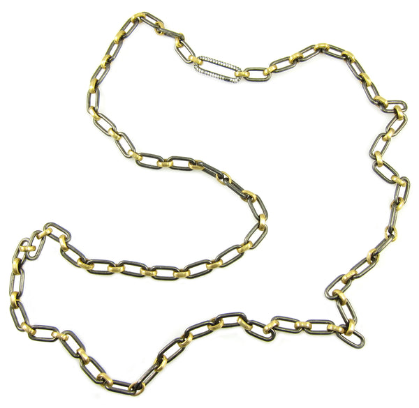 Versatile yellow gold and silver mixed metal chain with diamond link clasp