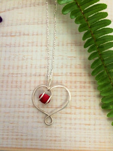 Red Coral Heart Necklace