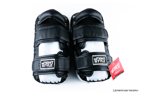 Infightstyle® Double strap velcro kick pad | White-black