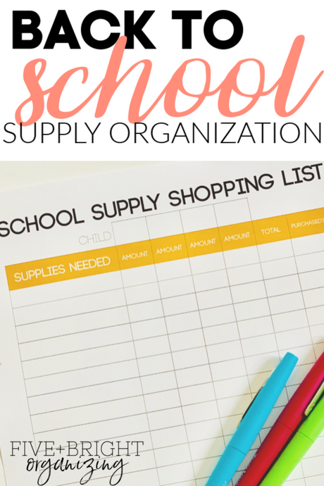 Back to School Supply Organization