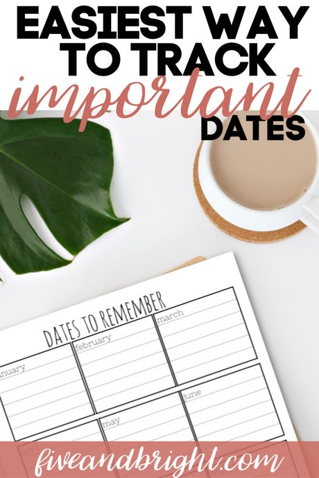 How to Remember Important Dates throughout the year!