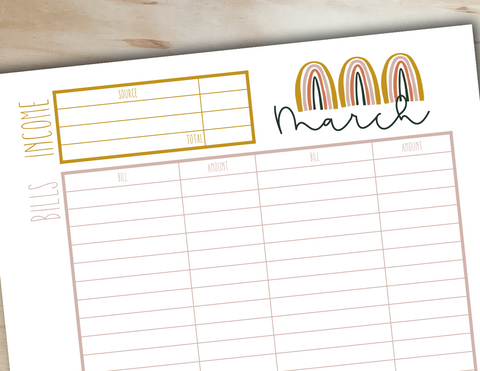 Monthly Budgeting Printable