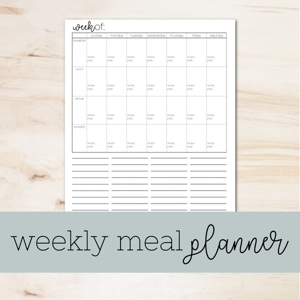printable Weekly meal planner with grocery list