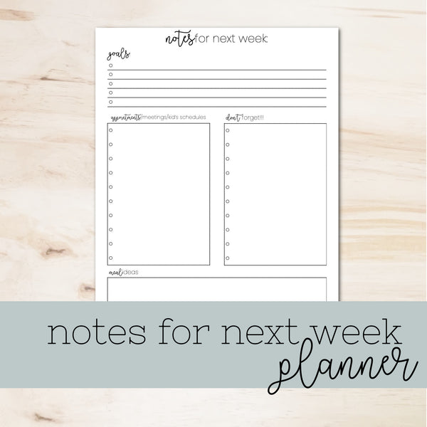 Notes for Next Week