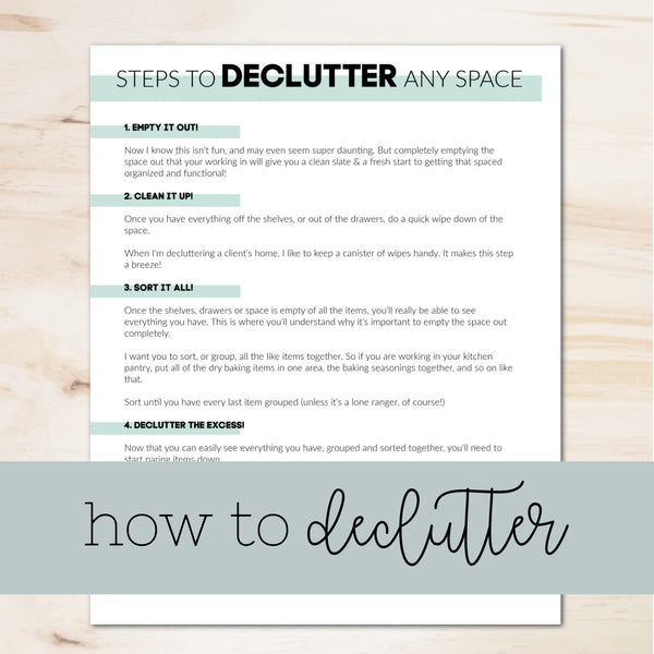 How to Declutter Any Space instructions