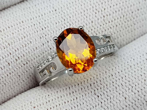 16.89CT MADEIRA CITRINE 925 SILVER RING